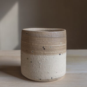 8 - Tumbler, 200ml, recycled clays + light coloured slip, Straža galaxy sand, 20eur
