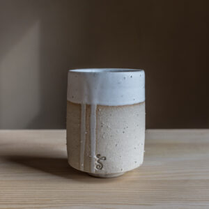 10 - Cup, 150ml, recycled clays + white mat glaze, Markovo feldspatic sand, 22eur