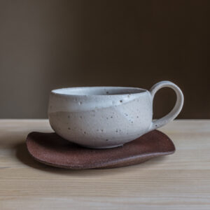11 - Cup with saucer, 150ml, recycled clays + white mat and satin glaze, Straža galaxy sand, burgundy red Straža clay 32eur