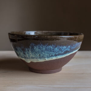16 - Bowl, 500ml, Red clay + blue/green glaze, 18eur
