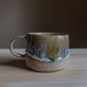 17 - Mug, 250ml, Recycled clays, Straža galaxy sand + blue/green glaze, 24eur
