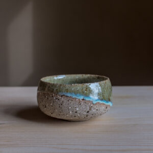24 - cup, 80ml, Recycled clays, Straža galaxy sand + blue/green glaze, 16eur