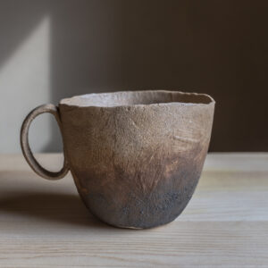2 - Pinched mug, 300ml, Leather coloured clay + light and dark coloured slip, 32eur
