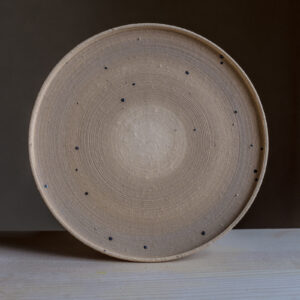 55 - Plate, Φ22cm, recycled clays + light coloured slip, Straža galaxy sand, 22eur