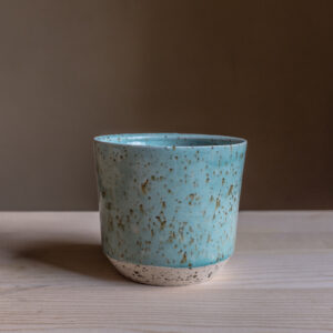 56 - Cup, 300ml, White clay, amphibole green sand + aqua glaze, 18eur