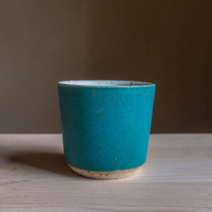 57 - Cup, 300ml, White clay, amphibole green sand + turquoise glaze, 18eur