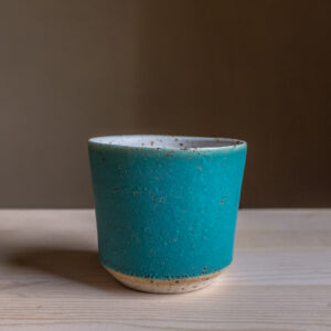 58 - Cup, 300ml, White clay, amphibole green sand + turquoise glaze, 18eur