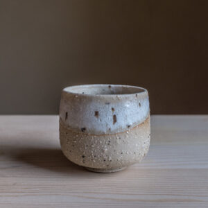 59 - Cup, 150ml, recycled clays + white glaze, Straža galaxy sand, 25eur