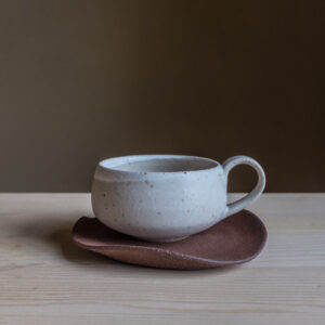 14 - Cup with saucer, 150ml, recycled clays + white mat and satin glaze, Straža galaxy sand, burgundy red Straža clay 32eur