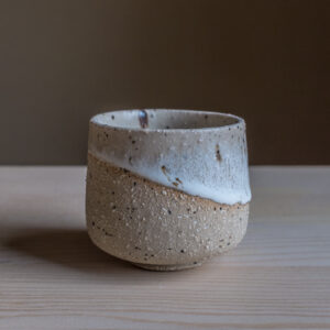 61 - Cup, 150ml, recycled clays + white glaze, Straža galaxy sand, 25eur