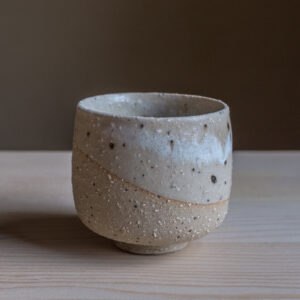 62 - Cup, 150ml, recycled clays + white glaze, Straža galaxy sand, 25eur