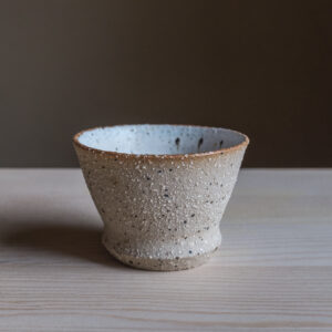 66 - Cup, 150ml, recycled clays + white glaze, Straža galaxy sand, 25eur