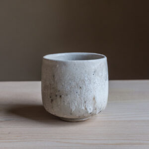 70 - Cup, 120ml, recycled clays + white glaze, Straža galaxy sand, 25eur